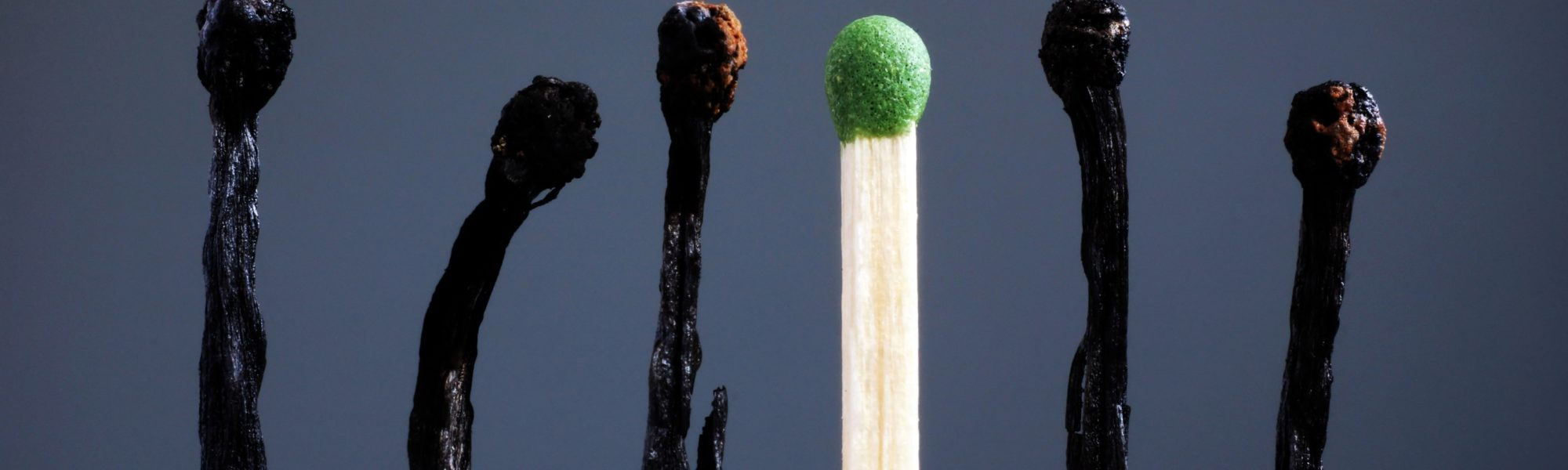 Line of burnt matches and one brand new Individuality leadership burnout at work and energy 1131847822 3869x2580